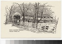 Artist's depiction of Knox Covered Bridge, Valley Forge, Pennsylvania, 1947