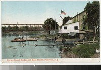 Spruce Street Bridge and boat house, Paterson, New Jersey, 1901-1906