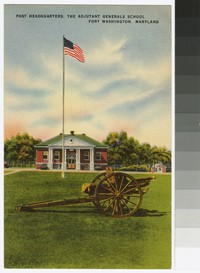 Post headquarters, the Adjutant Generals School, Fort Washington, Maryland, circa 1939-1944
