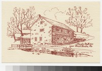 Artist's depiction of Strode's Mill, near West Chester, Pennsylvania, 1950