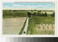 View of Bloody Lane and Antietam Battlefield from observation tower, Sharpsburg, Maryland, circa 1915-1930