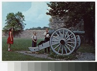 Children and cannon in Fort Frederick, Washington County, Maryland, circa 1941-1960