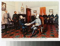 Painting depicting the surrender of General Lee to General Grant, Appomattox, Virginia, circa 1951-1970