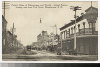 Central Avenue looking west from First Street, Albuquerque, New Mexico, 1907-1914
