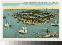 Artist's depiction of Fortress Monroe and Old Point Comfort, Virginia, as it was in 1861, circa 1930-1945