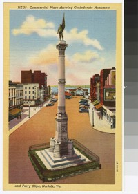 Commercial Place showing Confederate Monument and ferry slips, Norfolk, Virginia, circa 1930-1944