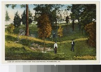 View of crater where fort was destroyed, Petersburg, Virginia, circa 1915-1930