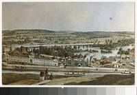 Artist's depiction of the view from Gamble's Hill, Richmond, Virginia, circa 1907-1914