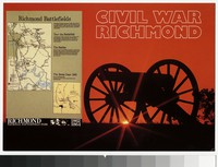 Cannon and map, Richmond National Battlefield Park, Richmond, Virginia, circa 1961-1980