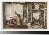 Navaho mother and child weaving, Indian Building, Albuquerque, New Mexico, 1915-1930