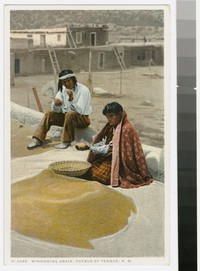 Winnowing grain, Pueblo of Tesuque, New Mexico, 1915-1922
