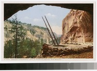 Ancient ceremonial cave in Frijoles Canyon, New Mexico, 1915-1930