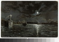 Artist's depiction of moonlight on the harbor, Richmond, Virginia, circa 1907