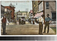 Market Street from railroad, Mannington, West Virginia, 1907-1914