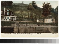 Government lock in river, Morgantown, West Virginia, 1907-1909