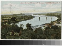 View up the Ohio River from Fort Boreman, Parkersburg, West Virginia, 1907-1914