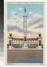 Jefferson Davis Monument, Monument Avenue and Davis Avenue, Richmond, Virginia, circa 1930-1944