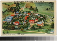 Airplane view of Hollins College, Roanoke, Virginia, 1930-1944