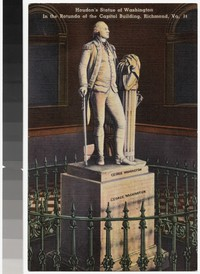 Houdon's Statue of Washington in the rotunda of the Capitol Building, Richmond, Virginia, 1931-1944