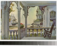 Artist's depiction of the Colonial Hotel and porch, Cape May, New Jersey, 1971-1975