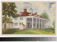 Artist's depiction of the east front of the mansion, Mount Vernon, Virginia, 1934