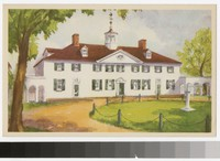 Artist's depiction of the west front of the mansion, Mount Vernon, Virginia, 1934