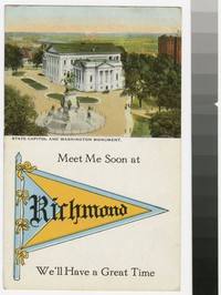 State Capitol and Washington Monument, Richmond, Virginia, 1907-1914