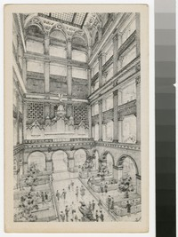 Artist's depiction of the Grand Court at John Wanamaker, Philadelphia, Pennsylvania, 1915-1930