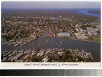 Aerial view of Annapolis and the U.S Naval Academy, Annapolis, Maryland, 1981-1991