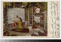 Navajo mother and child weaving, Indian Building, Albuquerque, New Mexico, 1905-1906