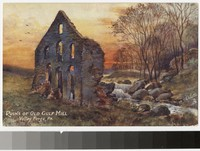 Artist's depiction of the ruins of Old Gulf Mill, Valley Forge, Pennsylvania, 1907-1914