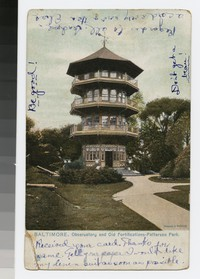 Observatory and old fortifications, Patterson Park, Baltimore, Maryland, 1901-1907