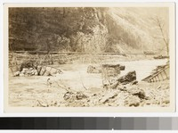Flood wreckage through the Cumberland Narrows, Cumberland, Maryland, 1936