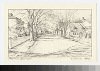 Artist's depiction of Morris Street, Oxford, Maryland, 1915-1930